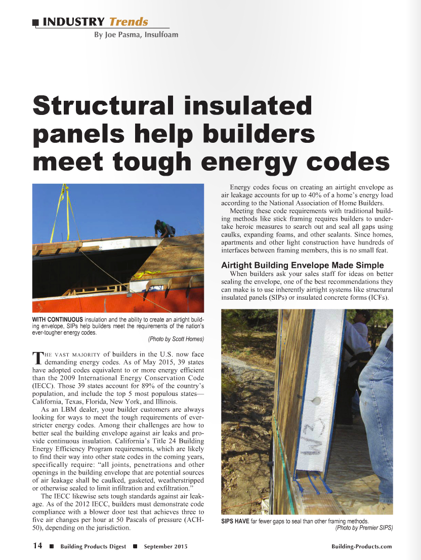 Structural insulated panels help builders meet tough energy codes